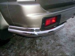 ST-Line Защита заднего бампера Mitsubishi Pajero Sport (1998-2008) /углы двойные