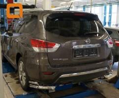 ST-Line Защита заднего бампера Nissan Pathfinder (2014-) /углы двойные