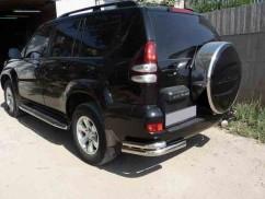 ST-Line Защита заднего бампера Toyota Prado 120 (2003-2009) /углы двойные