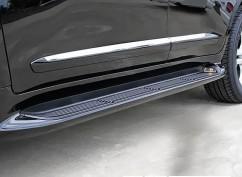 AVTM Пороги боковые (подножки) Toyota Land Cruiser 200 2007-2017 Черные с подсветкой