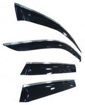 Ветровики с хром молдингом Opel Astra H Sd 2007 БЕЛЫЙ
