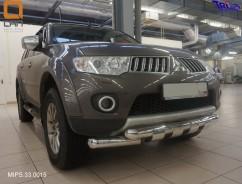 Can Otomotiv Кенгурятник (защита бампера) Mitsubishi Pajero Sport (2008-) /ус двойной SHARK