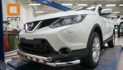 Can Otomotiv Кенгурятник (защита бампера) Nissan Qashqai (2014-) /ус двойной SHARK