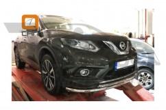 Кенгурятник (защита бампера) Nissan X-trail (2014-) /ус передний двойной