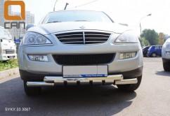 Can Otomotiv Кенгурятник (защита бампера) Ssang Yong Kyron (2005-) /ус двойной SHARK