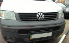 Зимняя  накладка Volkswagen T5 2003-2009 (бампер длинная на 3 решетки)