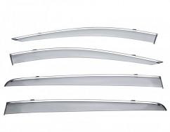 Ветровики (Дефлекторы окон)  Kia Sportage 2016- (с хром молдингом)