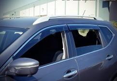 Ветровики (Дефлекторы окон)  Nissan Qashqai 2014- (с хром молдингом)