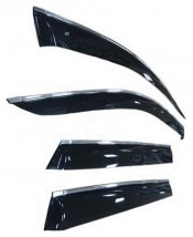 Ветровики с хром молдингом Chevrolet Lanos Sd 2005 ЗЕЛЕНЫЙ