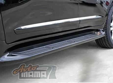 AVTM Пороги боковые (подножки) Toyota Land Cruiser 200 2007-2017 Черные с подсветкой - Картинка 1