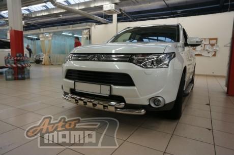 Can Otomotiv Кенгурятник (защита бампера) Mitsubishi Outlander (2012-) /ус двойной SHARK - Картинка 1